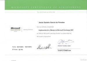 Certificate: Deployment and management of Microsoft Exchange 2007. Deployment, configuration, object management, addresses and lists, transportation, availability, copies and maintenance.