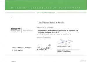 Certificate: Configuration, Maintenance and Troubleshooting with Microsoft Exchange Server 2010