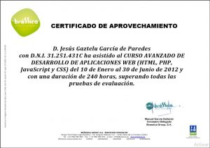 Web_developer certificate, expeded by H.R. of Brassica Group S.A.